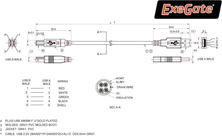 Кабель USB 2.0 AM-BM 3.0м Buro прозрачный USB2.0-AM/BM-3-TRANS